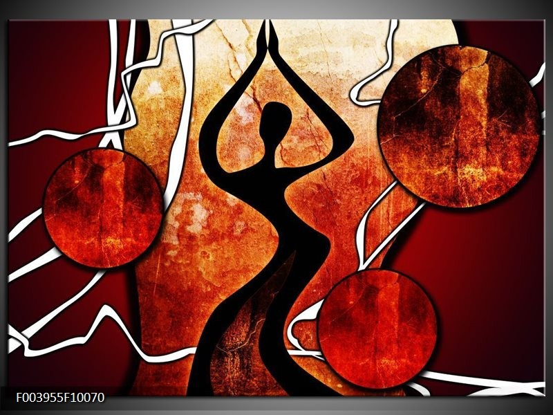 Glas schilderij Abstract | Zwart, Rood, Wit
