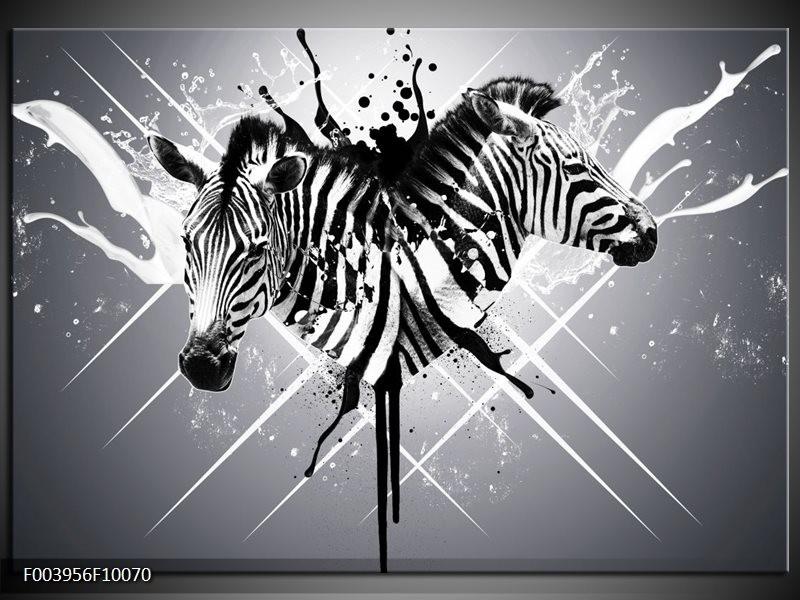 Foto canvas schilderij Zebra | Zwart, Wit, Grijs