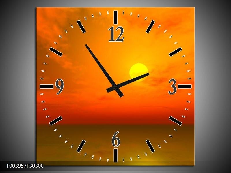 Wandklok op Canvas Zonsondergang   Kleur: Geel, Oranje, Bruin   F003957C