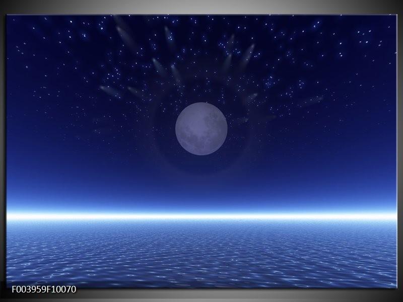 Glas schilderij Maan   Blauw, Wit, Grijs