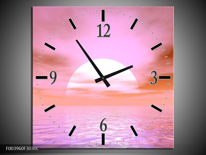 Wandklok op Canvas Zonsondergang | Kleur: Roze, Wit, | F003960C