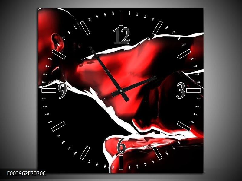 Wandklok op Canvas Abstract | Kleur: Rood, Zwart, Wit | F003962C