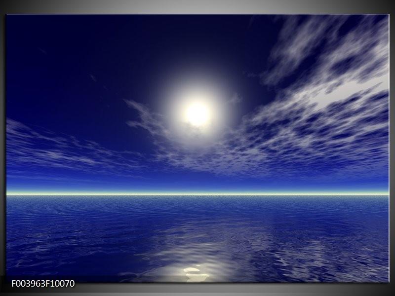 Glas schilderij Zee | Blauw, Wit