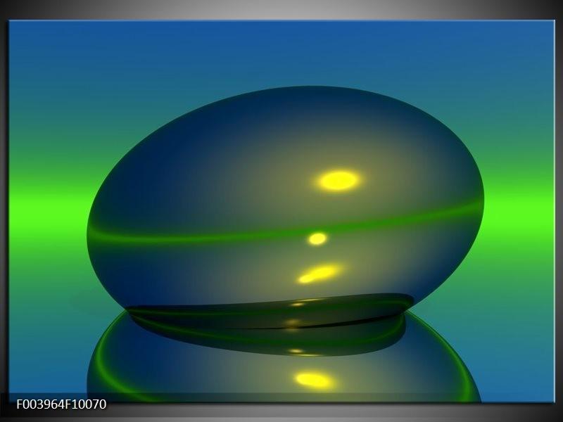 Glas schilderij Abstract | Groen, Blauw, Geel