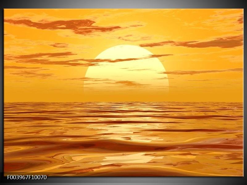 Glas schilderij Zonsondergang | Geel, Oranje, Bruin