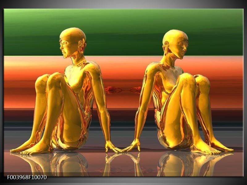 Glas schilderij Abstract   Goud, Groen, Rood