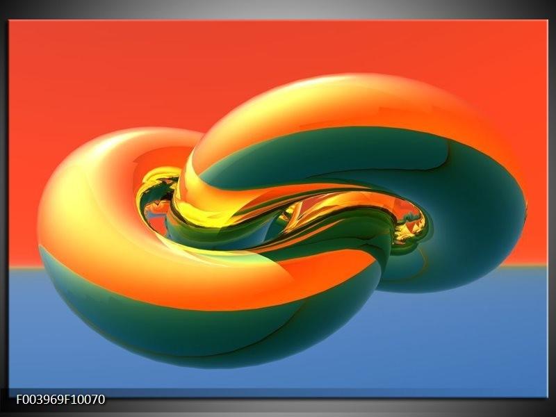 Foto canvas schilderij Abstract | Goud, Groen, Rood