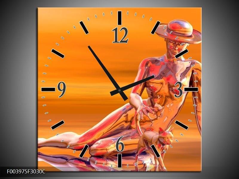 Wandklok op Canvas Abstract   Kleur: Oranje, Grijs, Geel   F003975C