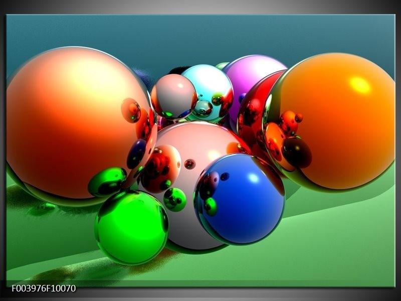 Glas schilderij Abstract | Oranje, Blauw, Groen