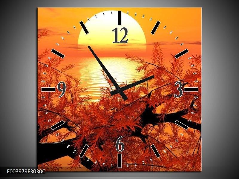 Wandklok op Canvas Natuur   Kleur: Oranje, Geel, Zwart   F003979C