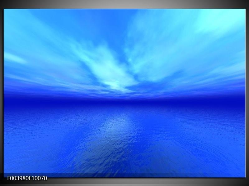 Glas schilderij Natuur   Blauw, Wit