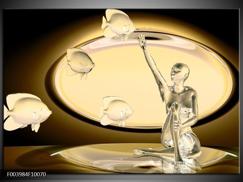 Glas schilderij Vis | Geel, Bruin, Goud