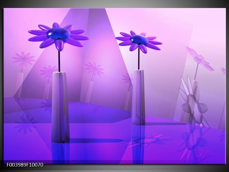 Glas schilderij Bloem | Blauw, Paars, Wit