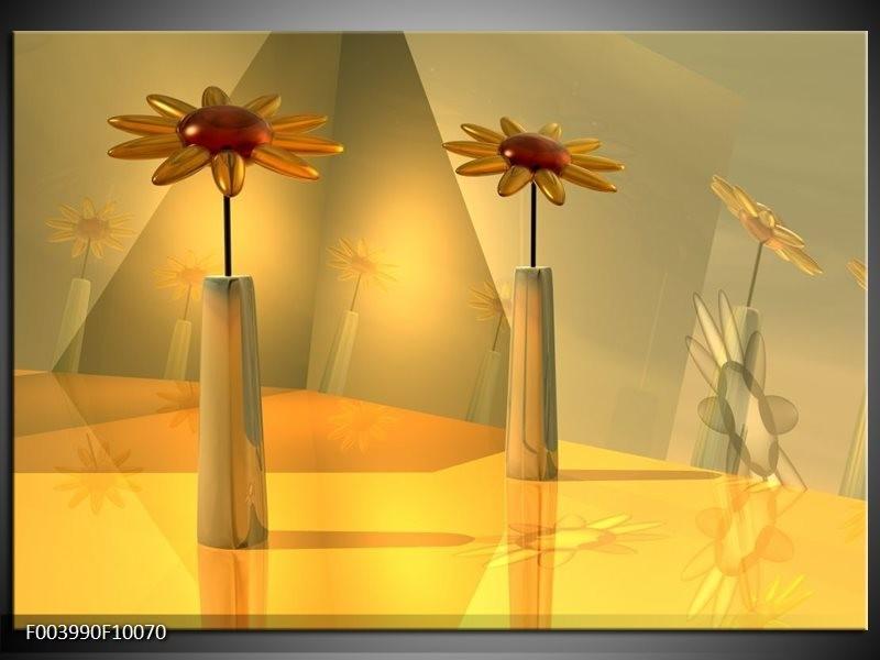 Foto canvas schilderij Bloem | Geel, Oranje