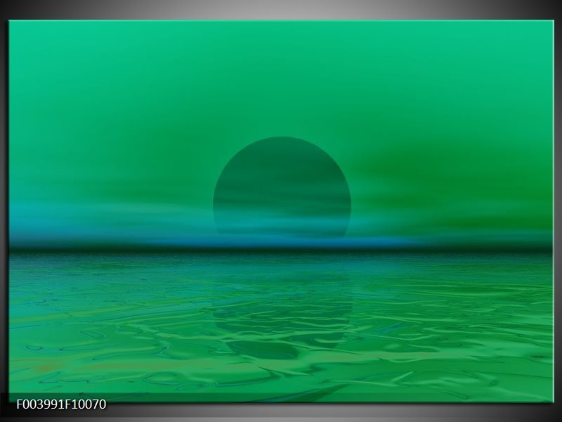 Foto canvas schilderij Zonsondergang   Groen, Blauw