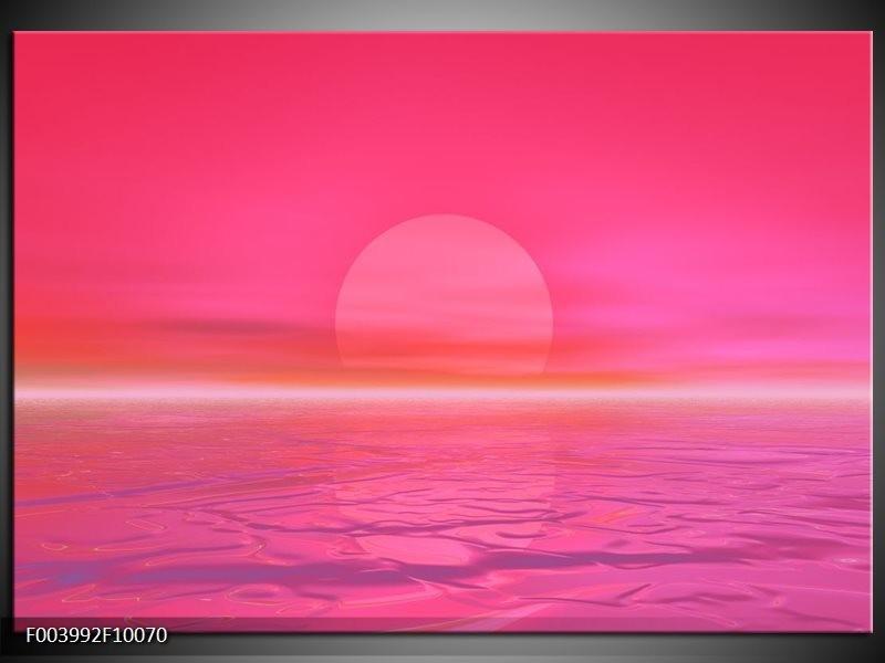 Foto canvas schilderij Zonsondergang | Roze, Wit