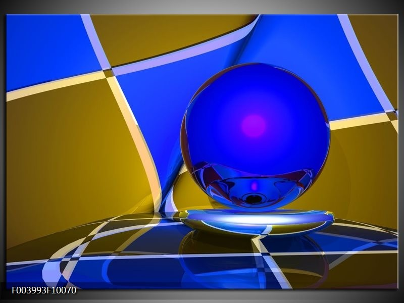Foto canvas schilderij Abstract   Blauw, Geel, Grijs
