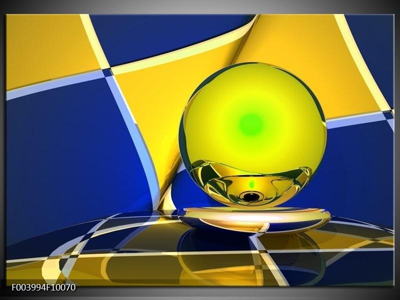 Glas schilderij Abstract | Blauw, Geel, Grijs
