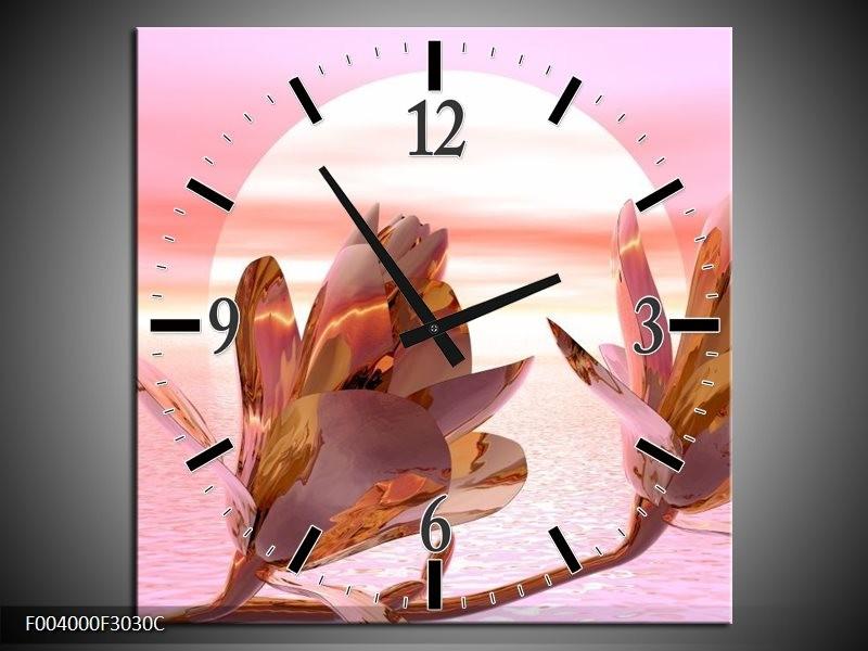 Wandklok op Canvas Bloem | Kleur: Roze, Paars, Wit | F004000C