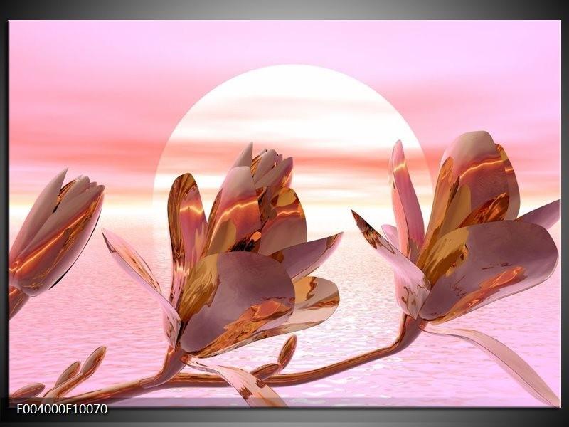 Glas schilderij Bloem   Roze, Paars, Wit