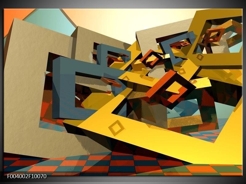 Glas schilderij Abstract | Geel, Grijs, Zwart