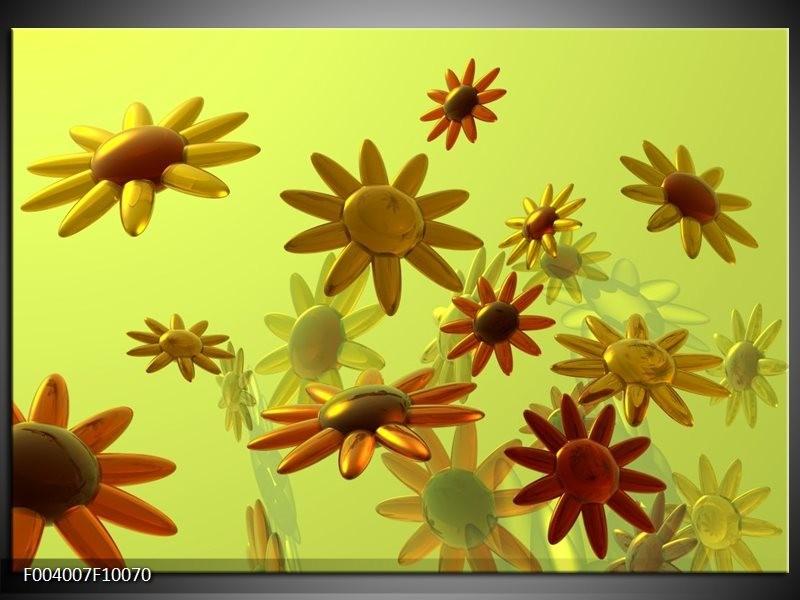 Foto canvas schilderij Bloem | Geel, Groen, Rood