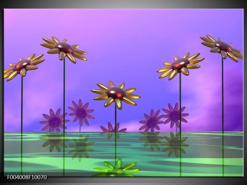 Glas schilderij Bloem | Paars, Geel, Groen