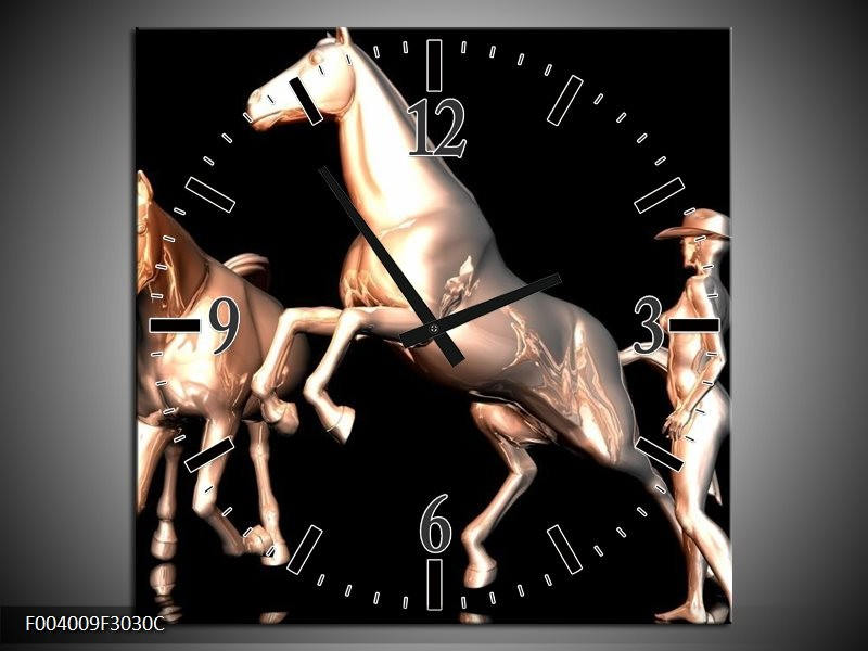 Wandklok op Canvas Paard | Kleur: Goud, Zwart, Zilver | F004009C