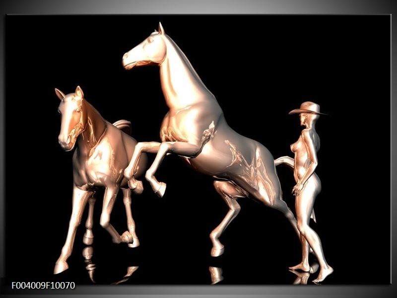 Glas schilderij Paard | Goud, Zwart, Zilver