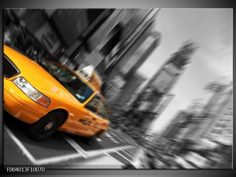 Foto canvas schilderij Auto | Geel, Grijs, Zwart