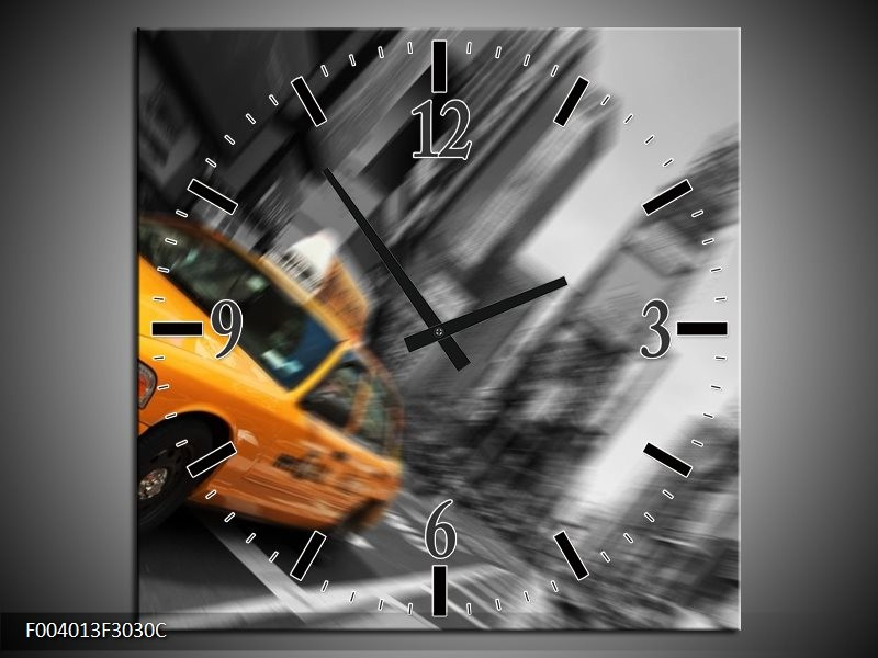 Wandklok op Canvas Auto | Kleur: Geel, Grijs, Zwart | F004013C
