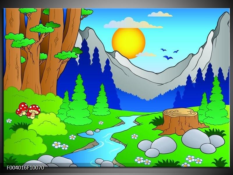 Foto canvas schilderij Natuur   Blauw, Groen, Geel