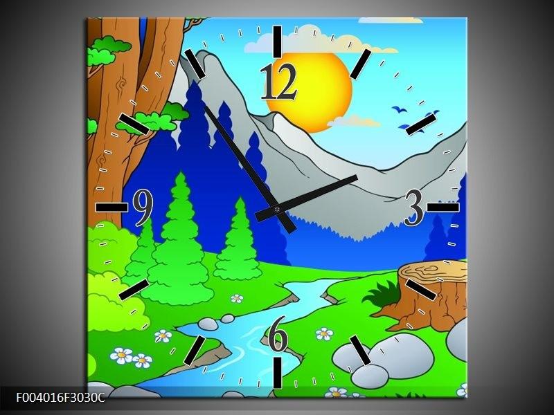 Wandklok op Canvas Natuur | Kleur: Blauw, Groen, Geel | F004016C