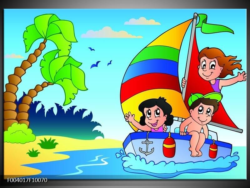 Foto canvas schilderij Boot | Blauw, Rood, Groen