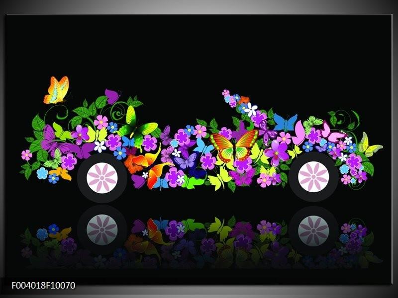 Foto canvas schilderij Auto | Zwart, Groen, Paars
