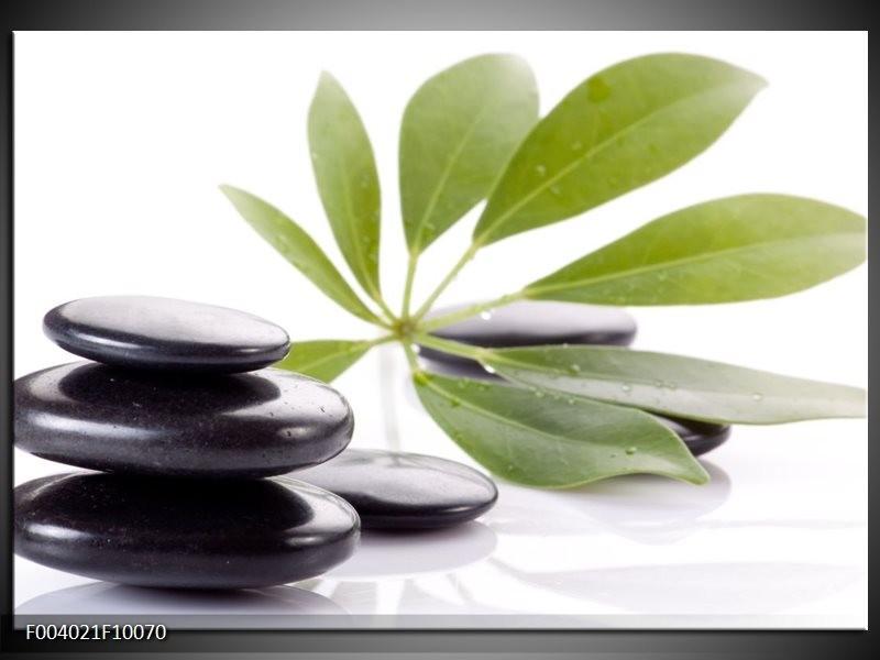 Glas schilderij Stenen | Zwart, Groen, Wit