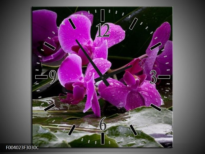 Wandklok op Canvas Orchidee | Kleur: Zwart, Roze, Grijs | F004023C