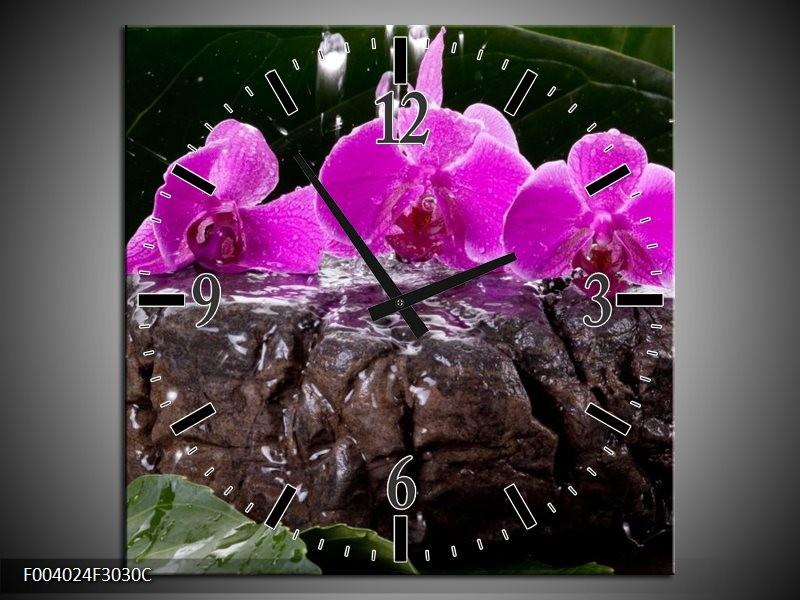 Wandklok op Canvas Orchidee   Kleur: Zwart, Roze, Grijs   F004024C