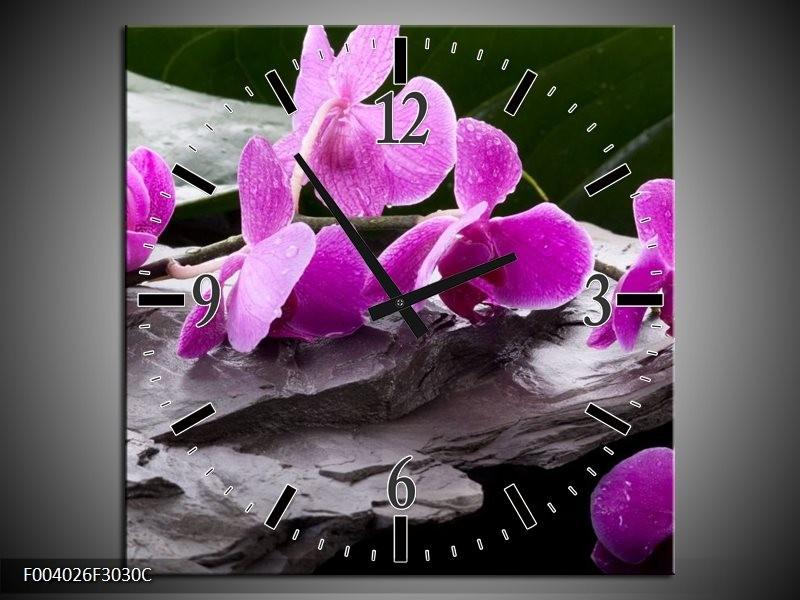 Wandklok op Canvas Orchidee | Kleur: Zwart, Roze, Grijs | F004026C