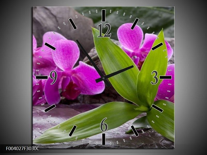 Wandklok op Canvas Orchidee | Kleur: Zwart, Roze, Grijs | F004027C