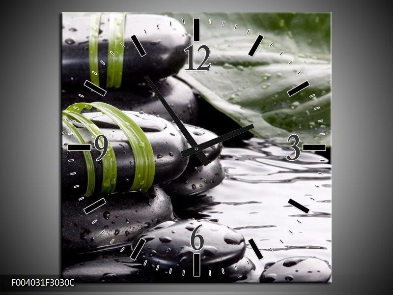 Wandklok op Canvas Stenen | Kleur: Groen, Zwart, Wit | F004031C