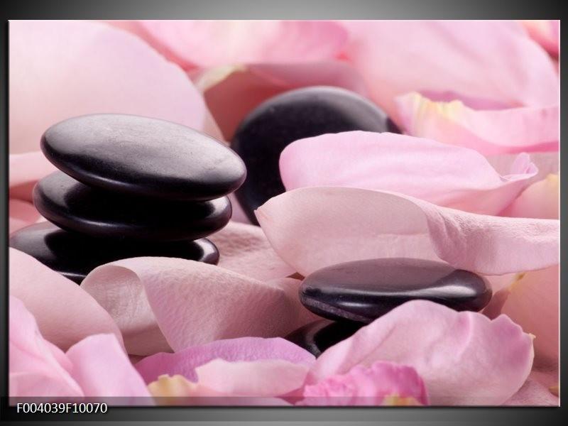 Glas schilderij Stenen | Roze, Zwart