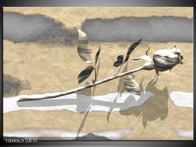 Glas schilderij Roos | Grijs, Wit, Geel