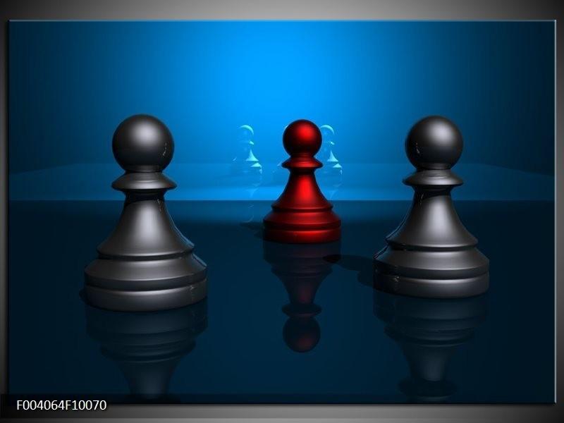 Glas schilderij Spel | Blauw, Rood, Grijs