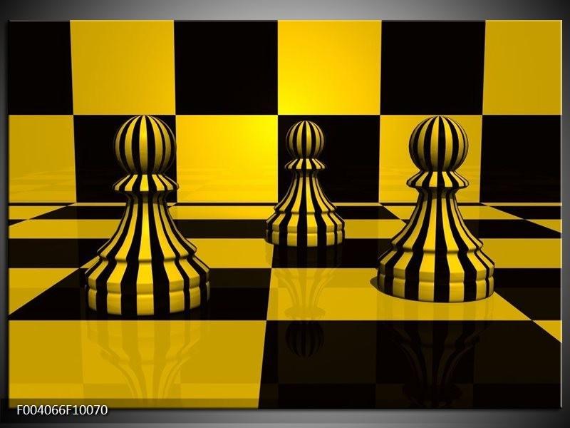 Foto canvas schilderij Spel | Geel, Zwart, Wit