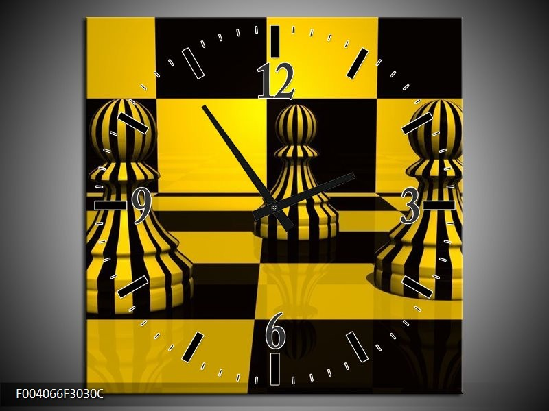 Wandklok op Canvas Spel | Kleur: Geel, Zwart, Wit | F004066C