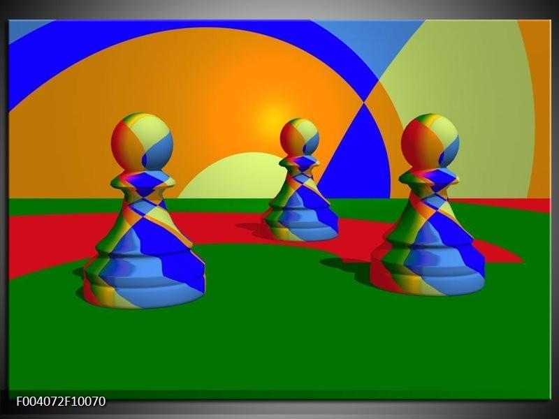 Glas schilderij Spel | Groen, Blauw, Rood