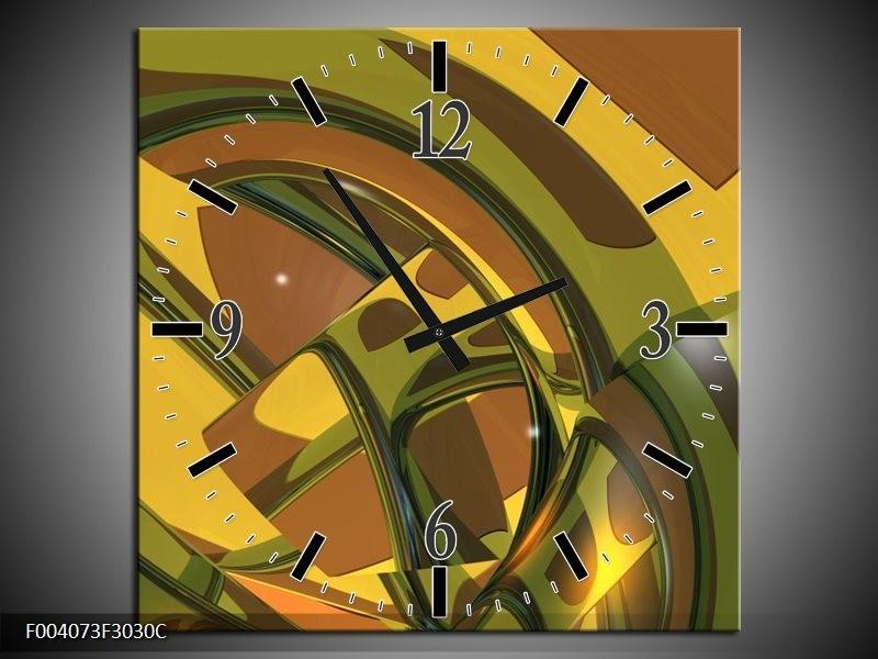 Wandklok op Canvas Abstract | Kleur: Groen, Bruin, Wit | F004073C