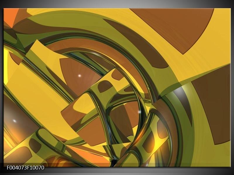 Glas schilderij Abstract | Groen, Bruin, Wit