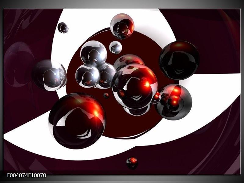Glas schilderij Abstract | Bruin, Rood, Wit